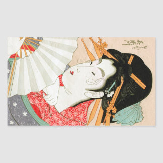 Cool japanese woodprint geisha with fan art