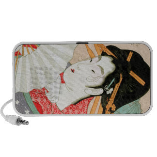 Cool japanese woodprint geisha with fan art speakers