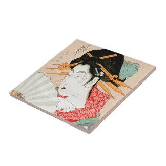 Cool japanese woodprint geisha with fan art tile