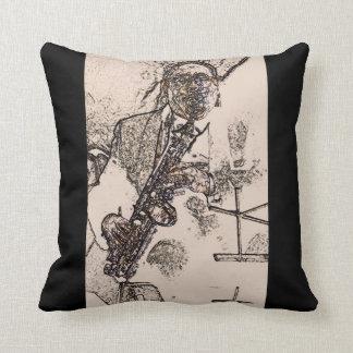 Cool Jazz Sax Player Throw Pillow
