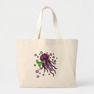 Cool Jellyfish Drinking Margarita Cartoon Large Tote Bag