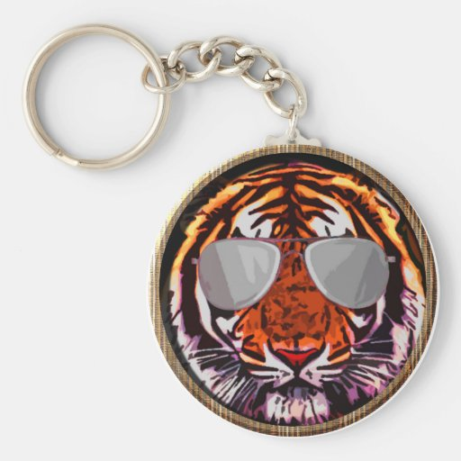 cool jungle cat round key chain