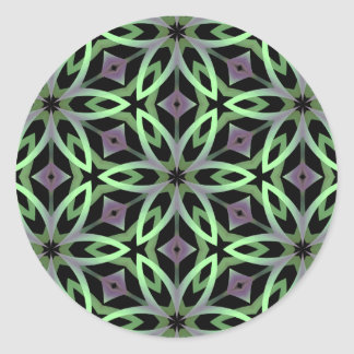 Cool kalieodscopic flowers purple and green round sticker