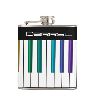 Cool Keyboard With Colorful Piano Keys Music Flask