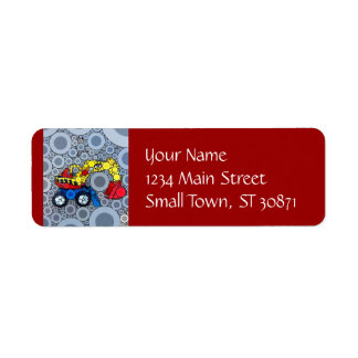 Cool Kids Construction Truck Excavator Digger Return Address Label