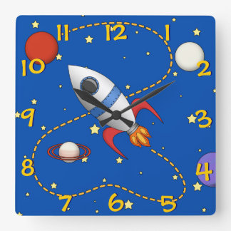 Cool Kids Spaceship in Orbit Cartoon Square Wall Clock