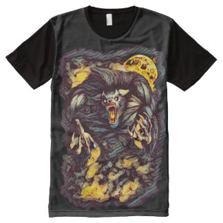 Cool Killer Werewolf Dark Horror Art All-Over-Print T-Shirt