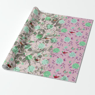 Cool Lady Grunge Skulls and Teal & Pink Floral Wrapping Paper