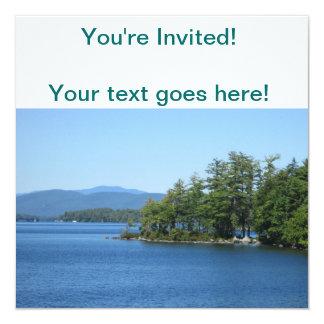 "Cool Lake Island Shot 5.25"" Square Invitation Card"