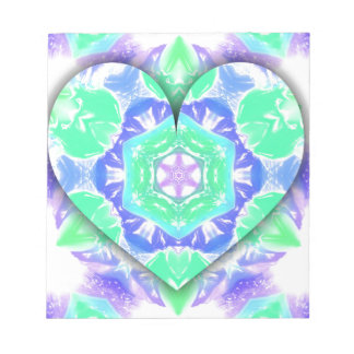 Cool Lavender Mint Green 3d Heart Shaped Patterns Notepad