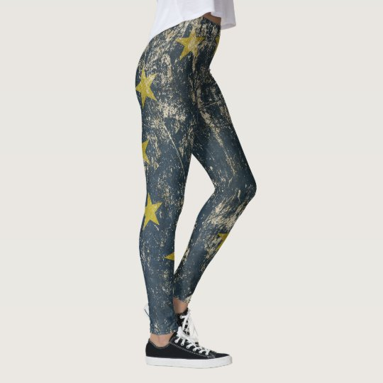 Cool leggings with vintage flag of EU