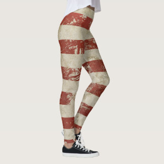 Cool leggings with vintage red and white line
