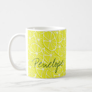 Cool Lemon Slices Pattern Signature Add Your Name Coffee Mug