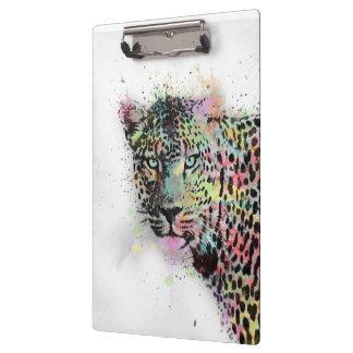 Cool leopard animal watercolor splatters paint clipboards