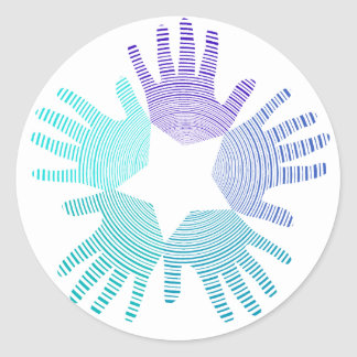 Cool Light and dark blues hands circles and a star Classic Round Sticker