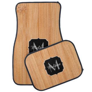Cool light brown bamboo wood print Monogram Car Floor Carpet
