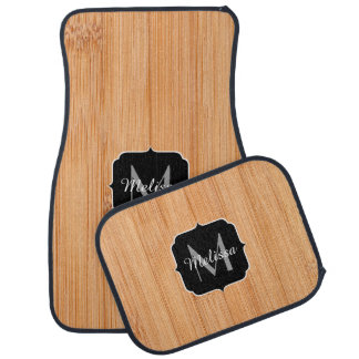 Cool light brown bamboo wood print Monogram Car Mat