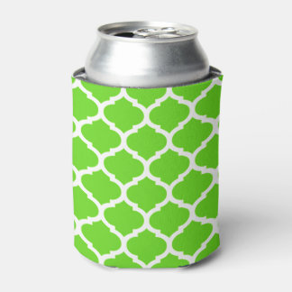 Cool Lime Green Moroccan Quatrefoil Pattern Can Cooler