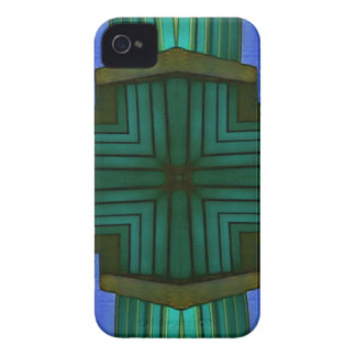 Cool Linear Symmetrical Blue Green Pattern Case-Mate iPhone 4 Case