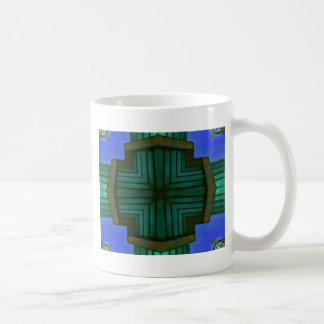 Cool Linear Symmetrical Blue Green Pattern Coffee Mug