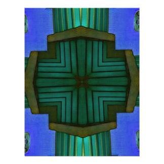 Cool Linear Symmetrical Blue Green Pattern Letterhead