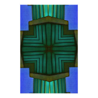 Cool Linear Symmetrical Blue Green Pattern Stationery