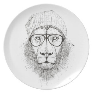 Cool lion (blackandwhite) plate
