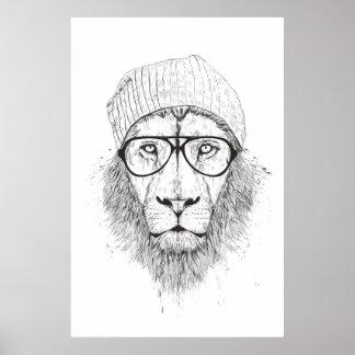 Cool lion (blackandwhite) poster