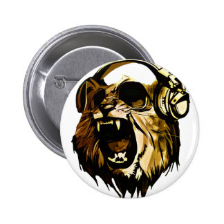 Cool Lion head with glasses and headphones 2 Inch Round Button