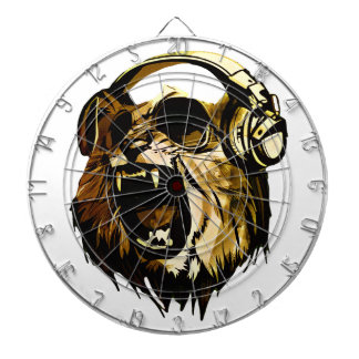 Cool Lion head with glasses and headphones Dartboard