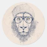 Cool lion round sticker