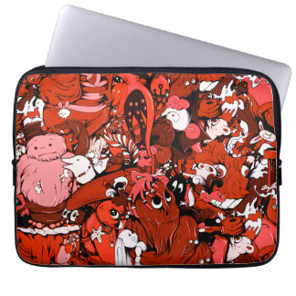 Cool Little Monsters in Red Laptop Computer Sleeves
