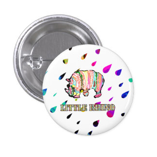 Cool Little Rhino in Colorful Rain 1 Inch Round Button
