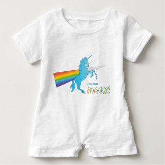 Cool magic Unicorn with bright rainbow. Fantasy. Baby Romper