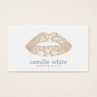 Cool Makeup Artist Gold Lips Logo Beauty Salon Business Card