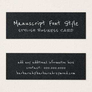 cool manuscript font-style informal blk. mini business card