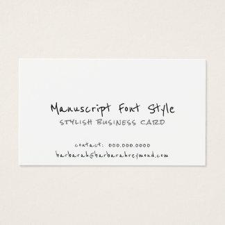 cool manuscript font-style informal white business card
