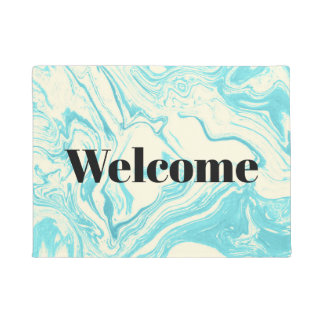 Cool Marble Design in Turquoise and Cream Doormat