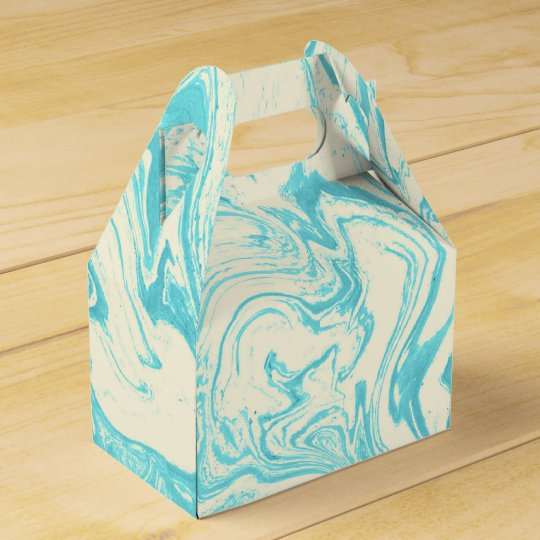 Cool Marble Design in Turquoise and Cream Favor Box