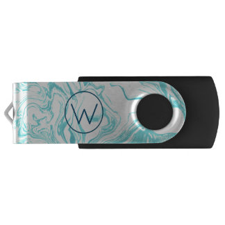 Cool Marble Design in Turquoise and Cream Monogram USB Flash Drive