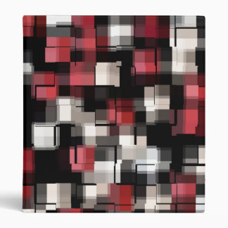 COOL Maroon Black White Abstract Plaid 3 Ring Binders