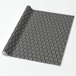 Cool masculine black grey gold ikat tribal pattern wrapping paper