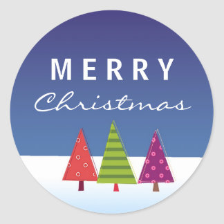 Cool Merry Christmas Sticker with abstract trees
