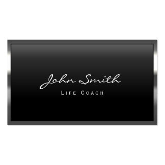 Cool Metal Border Life Coach Business Card
