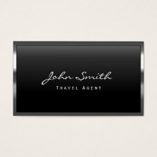 Cool Metal Border Travel Agent Business Card