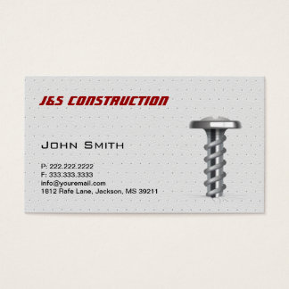 Cool Metal Screw Construction Business Card