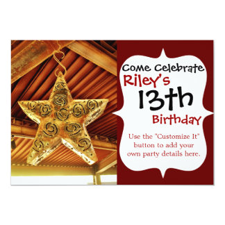 "Cool Metal Star Hanging Patio Light Fixture 5"" X 7"" Invitation Card"
