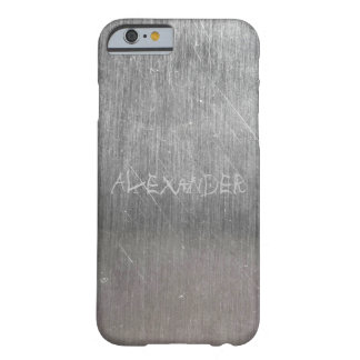 Cool Metal Texture with engraved Name Barely There iPhone 6 Case