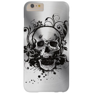 Cool Metallic Sketch Skull Swirl Flowers Manly Barely There iPhone 6 Plus Case