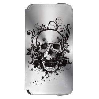 Cool Metallic Sketch Skull Swirl Flowers Manly Incipio Watson™ iPhone 6 Wallet Case
